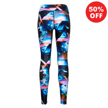 Load image into Gallery viewer, Back view of patterned blue colourful eco fitness wear leggings from Flip the Dog