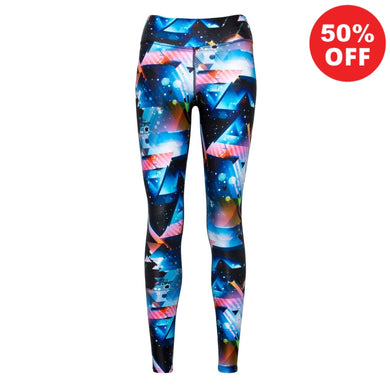 Front view of patterned blue colourful eco fitness wear leggings from Flip the Dog