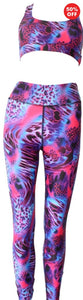 Pink patterned animal print eco fitness wear leggings and bra top from Flip the Dog