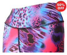 Load image into Gallery viewer, Close up of high waist band pink animal print fitness wear by Flip the Dog