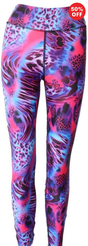 Front view of pink purple animal print colourful eco fitness wear leggings from Flip the Dog