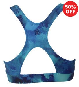 Turquoise marble racer back top fitness wear by Flip the Dog