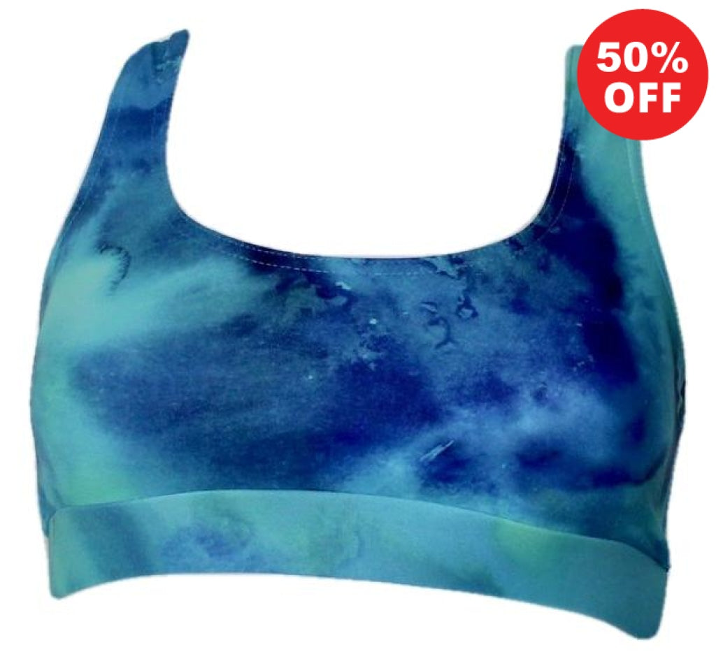Turquoise marble pattern racer back top fitness wear by Flip the Dog