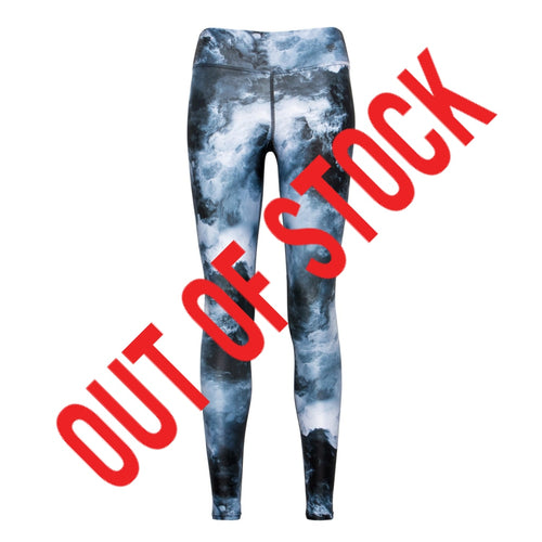 Cloudy sky grey and white patterned fitness wear leggings from Flip the Dog
