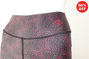 Close up of high waist band on red and black high waisted fitness wear eco leggings by Flip the Dog