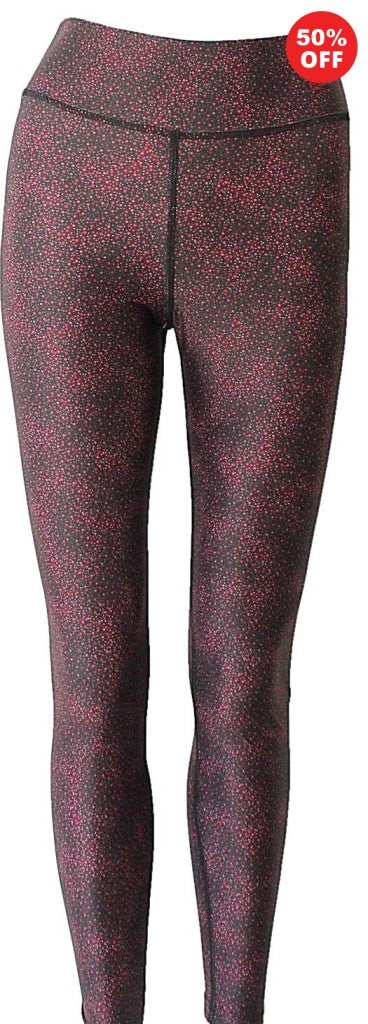 Red and black high waisted fitness wear eco leggings by Flip the Dog