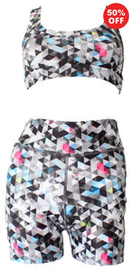 Black and white geometric pattern eco fitness wear shorts and racer back bra top by Flip the Dog