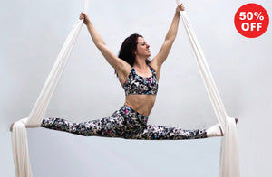 Aerial silk artist black and white geometric fitness wear leggings and bra top by Flip the Dog
