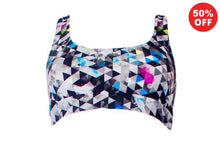 Load image into Gallery viewer, Black and white geometric pattern eco fitness wear racer back bra top by Flip the Dog