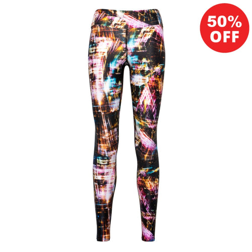 Multi coloured light effect patterned eco fitness wear high waisted leggings by Flip the Dog