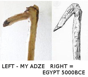 ancient adze. comparisons to ancient wooden artifacts adze