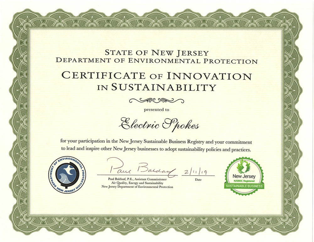 Electric Spokes receives Recognition from NJ's Department of Environmental Protection