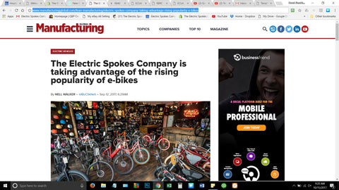 Electric Spokes Company press article in Global Manufacturing