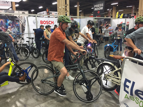 E-Bike test track at InterBike 2017 with Mark Baraniak from Voltaire Cycles
