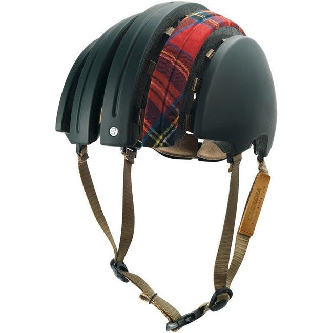 Brooks Carrera Foldable Bicycle Helmet - Green Red/Tartan-Helmets-Brooks England-Small/Medium-Voltaire Cycles of Verona