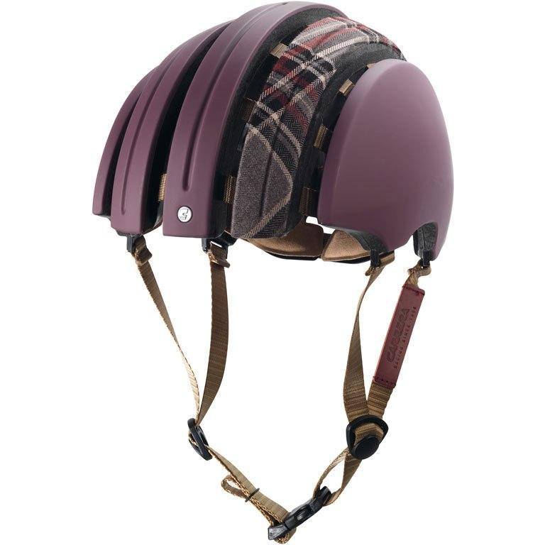 Brooks Carrera Foldable Bicycle Helmet - Red Must/ Grey Tartan-Helmets-Brooks England-Small/Medium-Voltaire Cycles of Verona