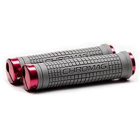 Chromag Squarewave Xl Grips 150mm Grey/Red-Grips and Handlebar Tape-Chromag-Voltaire Cycles of Verona