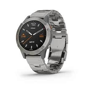 Garmin Fenix 6 Sapphire Watch Watch Color: Black Wristband: Grey - Titanium 010-02158-22-Computers and Watches-Garmin-Voltaire Cycles of Verona