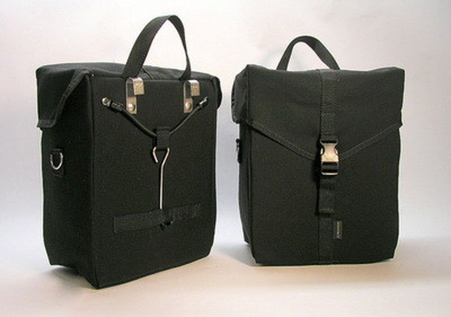 Ironweed Alyce Canvas Bicycle Pannier - Handmade-Bicycle Panniers-Ironweed Bike Products-Black-Voltaire Cycles of Verona