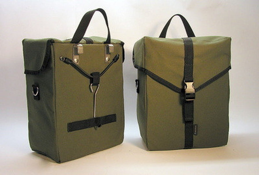 Ironweed Alyce Canvas Bicycle Pannier - Handmade-Bicycle Panniers-Ironweed Bike Products-Olive-Voltaire Cycles of Verona