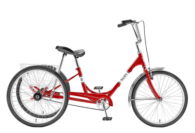 Sun Bicycles Traditional 24 Trike-Adult Trikes-Sun Bicycles-Red Metallic-Voltaire Cycles of Verona
