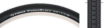 "Tioga Power Block Tire: 20"" x 1-1/8"" 451 ISO Wire Bead-Bicycle Tires-Tioga-Voltaire Cycles of Verona"