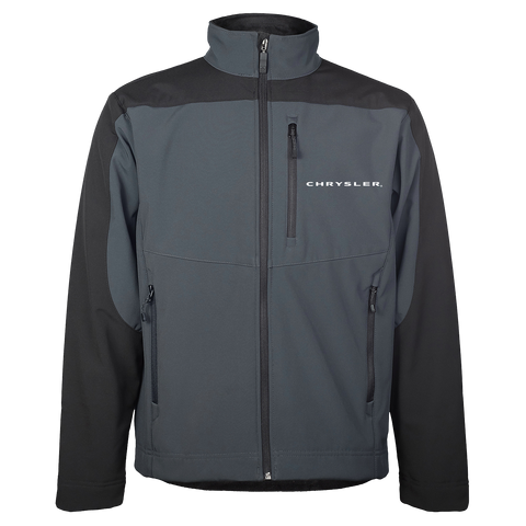 CH4200TBK - Men's Chrysler Waterproof/Breathable Full-Zip Softshell in Tar/Black