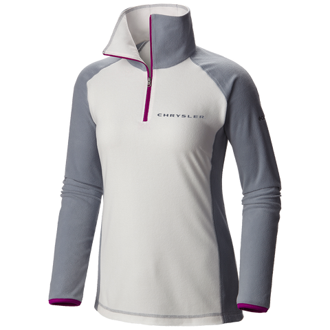CH146697 - Chrysler Women's Glacial Fleece III Half-Zip Microfleece Pullover in White/Gray