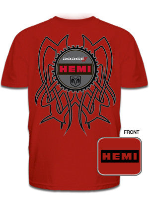 Dodge Hemi Tribal Back Tee in Red