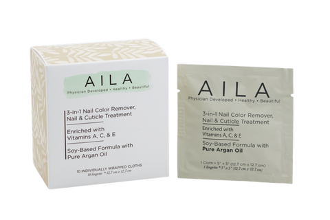 Aila Beauty 3-IN-1 Soy-Based Nail Color Remover Wipes - 10Pack