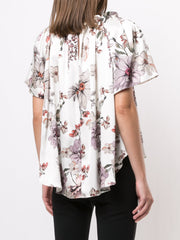 Adam Lippes Gathered Top In Printed Charmeuse
