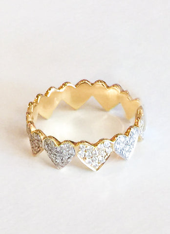 Sydney Evan Yellow Gold and Pave Diamond Eternity Heart Ring