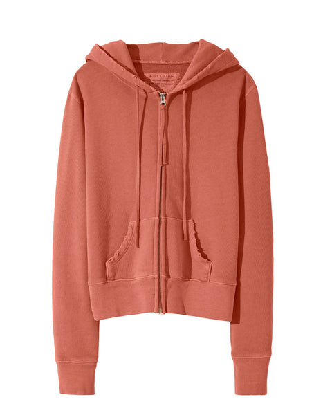 Nili Lotan CALLIE ZIP UP HOODIE- Earth Rose