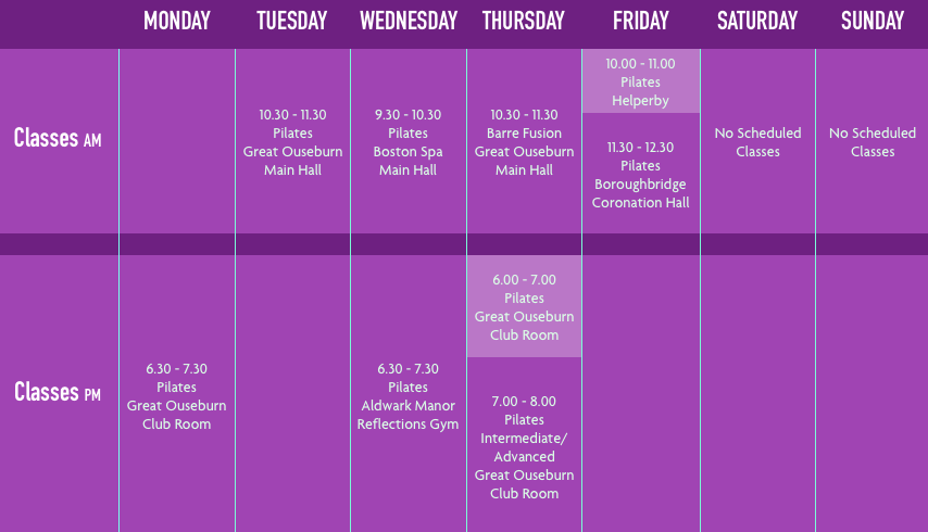 Village Fitness Class Timetable