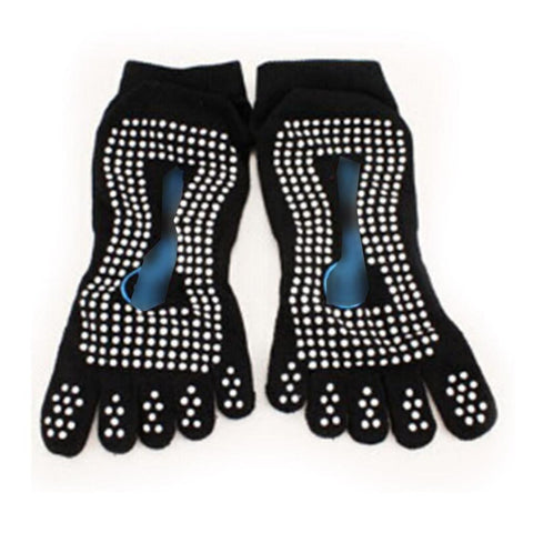 Women's Professional Five Toes Non Slip Massage Ankle Socks - Black