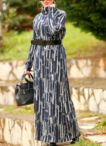 Navy Daily Wear Dress with Belt