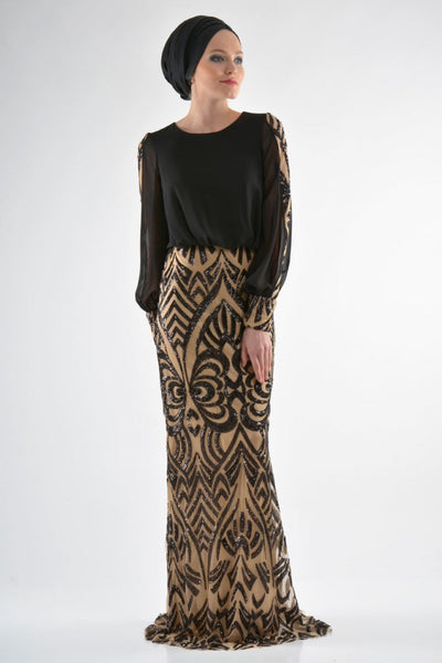 Luxurious Elegant Evening Gown - Black