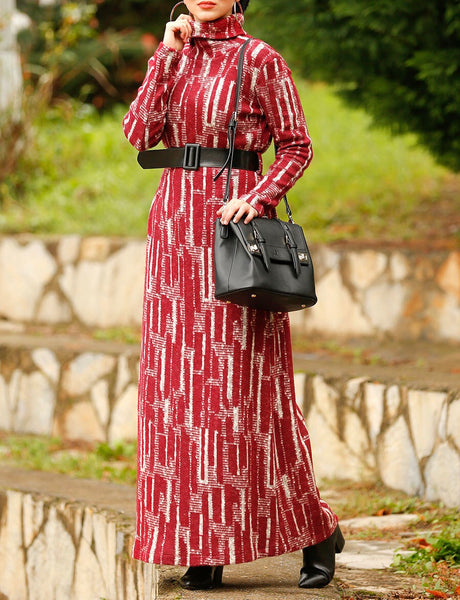 Claret Daily Wear Dress with Belt