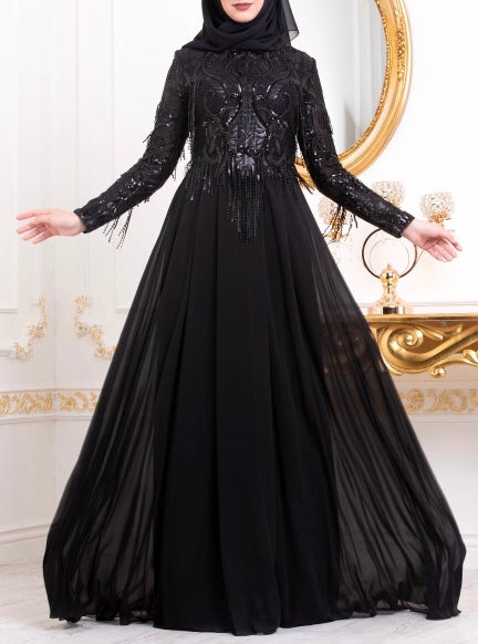 701a656fb60 Black Elegant Evening Gown - Dubai Femina Fashion