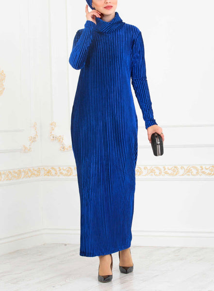 Sax Blue Pleated Dress