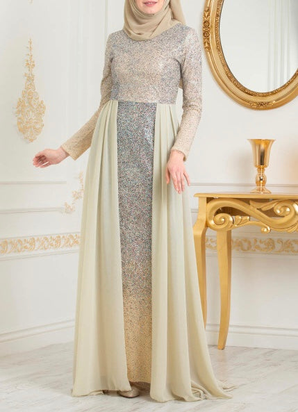Beige Elegant Evening Gown