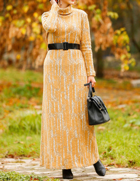 Mustard Daily Wear Dress with Belt