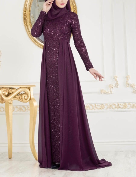Plum Elegant Evening Gown