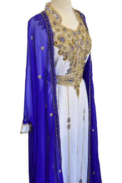 Moroccan Gold Crystal Kaftan With Cardigan - Blue