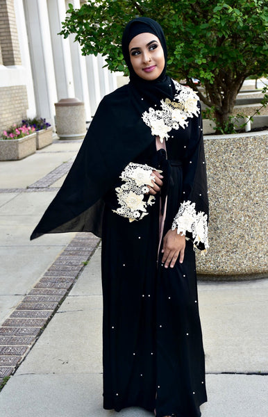 Dubai Elegant Lace Embroidery Abaya With Pearls