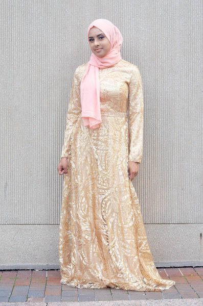 Gold Elegant Evening Gown