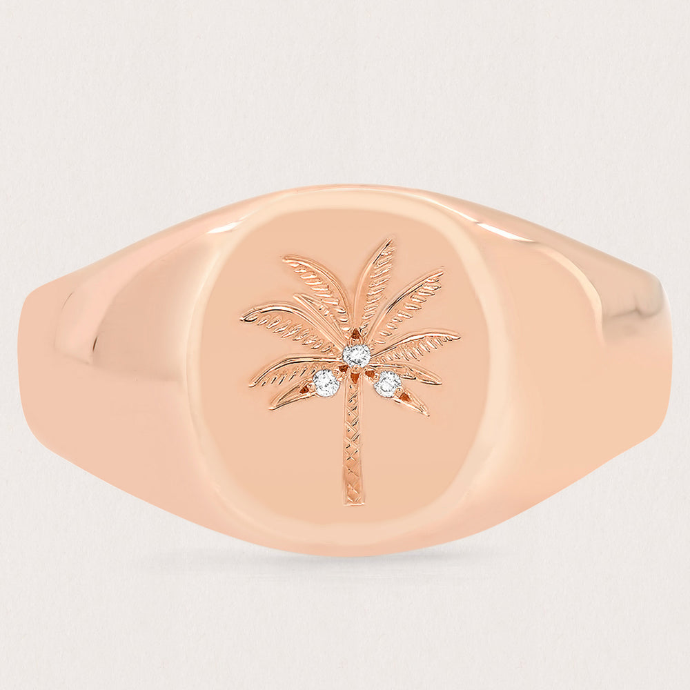 Diamond Coco Palm Signet Ring