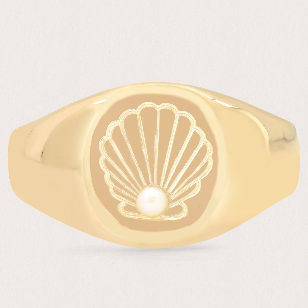 Pearl Seashell Signet Ring