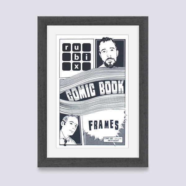 dark grey comic book frame with white mount handmade in the uk with wood mouldings