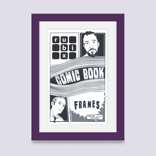 dark purple comic book frame with white mount handmade in the uk with wood mouldings